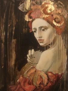 Dame à la poupée en or poésie (24x19)