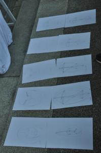 """Travaux réalisés en direct par les """"élèves-visiteurs"""" d'Arts en Siagne (28/06/2015) à Saint Cézaire : """"Le dessin est un trajet"""" (Anca-Sonia)"""